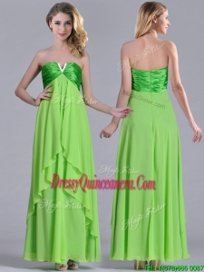 Pretty Beaded Decorated V Neck Spring Green 2016 Dama Dress in Ankle Length