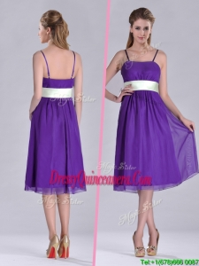 Romantic Spaghetti Straps Belted Eggplant Purple 2016 Dama Dress in Tea Length