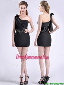 Sexy Column One Shoulder Bowknot Black2016 Dama Dress in Satin