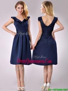 Beautiful V Neck Navy Blue Empire 2016 Dama Dress with Cap Sleeves