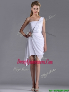 Cheap Column One Shoulder White Short 2016 Dama Dress with Zipper Up