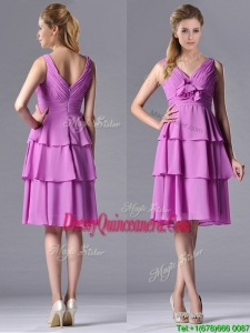 Classical V Neck Lilac 2016 Dama Dress with Handcrafted Flower and Ruching