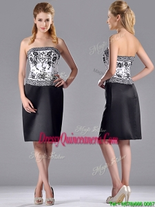 Column Strapless Knee-length Short 2016 Dama Dress with Embroidery