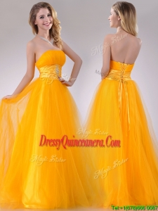 Elegant A Line Beaded Tulle Gold2016 Dama Dress with Lace Up