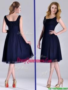 Latest Square Empire Chiffon Navy Blue2016 Dama Dress with Ruching