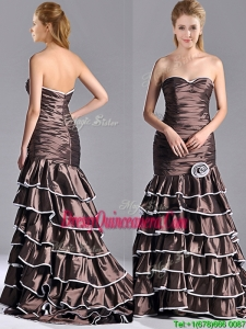 Luxurious Mermaid Ruffled Layers 2016 DamaDress with Brush Train