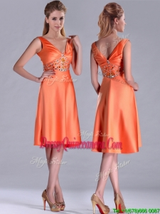 New Arrivals V Neck Beaded Short 2016 DamaDress in Orange Red