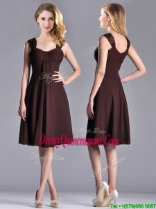 Best Selling Empire Ruched Brown Beautiful Dama Dress with Wide Straps