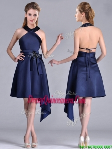 Elegant Halter Top Asymmetrical Navy Blue Beautiful Dama Dress in Satin