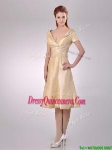 Hot Sale V Neck Champagne Tea Length Beautiful Dama Dress with Short Sleeves