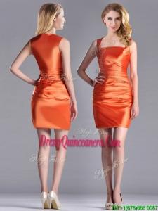 Lovely Column Square Side Zipper Short Beautiful Dama Dress in Orange Red