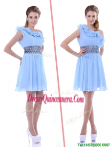 One Shoulder Light Blue Beautiful Dama Dress with Beaded Decorated Waist and Ruffles