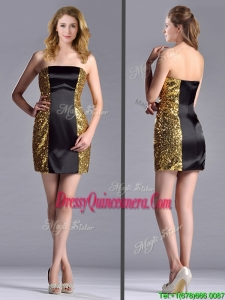 Popular Column Black and Gold2016 Dama Dress in Sequins and Satin