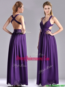 Sexy Purple Criss Cross Beautiful Dama Dress with Ruched Decorated Bust