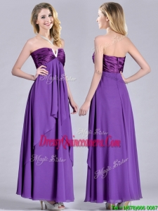 Cheap Beaded Decorated V Neck ChiffonBeautiful DamaDress in Eggplant Purple