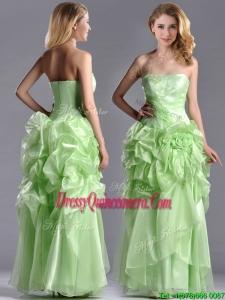 Classical Beaded and Bubble Organza Beautiful Dama Dress in Yellow Green