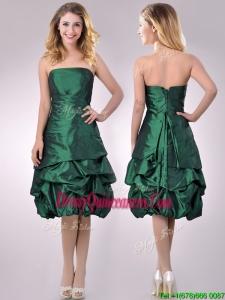 Classical Taffeta Strapless Bubble Beautiful Dama Dress in Dark Green