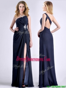 Exquisite One Shoulder Navy Blue Beautiful Dama Dress with Beading and High Slit