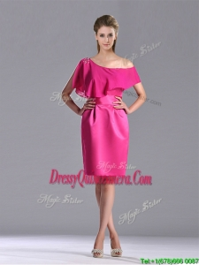 Latest Column One Shoulder Hot Pink Beautiful Dama Dress with Zipper Up