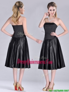 Most Popular Zipper Up Strapless Black Beautiful Dama Dress in Tea Length
