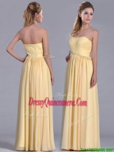 New Style Yellow Empire Long Beautiful DamaDress with Beaded Bodice
