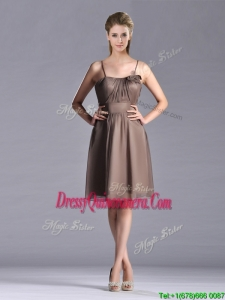 Popular Chiffon Brown Short Beautiful Dama Dress with Spaghetti Straps