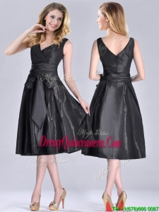 Popular Empire Black Tea Length Beautiful Dama Dress with Ruching and Bowknot