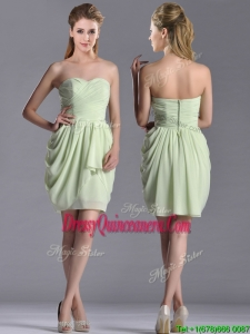 Popular Ruched Decorated Bodice Short Beautiful Dama Dress in Yellow Green