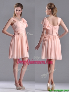 Simple Empire Ruched Peach Beautiful Dama Dress with Asymmetrical Neckline