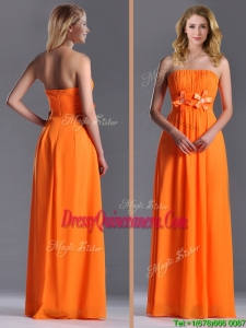 Empire Strapless Ruching Chiffon LongBeautiful Dama Dress in Orange