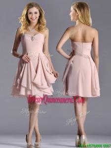 Exclusive Sweetheart Chiffon Beaded Beautiful Dama Dress in Light Pink