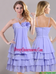 Hot Sale Ruffled Layers and Handcrafted Flower Beautiful Dama Dress in Lavender