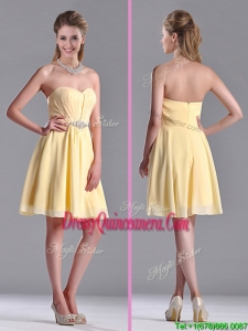 Modest Empire Chiffon Yellow Short Beautiful Dama Dress with Beading