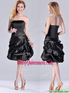 New Arrivals Strapless Taffeta Black Beautiful Dama Dress in Knee Length