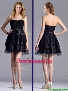 New Style Tulle Black Short Beautiful Dama Dress with Beading and Belt