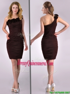 Simple Column One Shoulder Hand Crafted and Ruched Side Zipper Short Beautiful Dama Dress in Brown