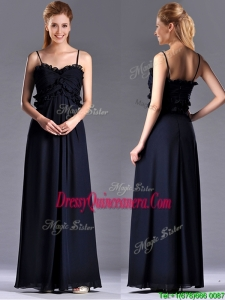 Simple Empire Straps Chiffon Ruching Navy BlueBeautiful Dama Dress for Holiday