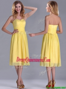 Discount Pleated Yellow Chiffon Dama Dress in Tea Length