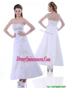 Elegant Ankle Length White Dama Dress with Embroidery and Beading