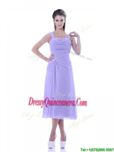 Fashionable Lavender Empire Square Dama Dress in Tea Length