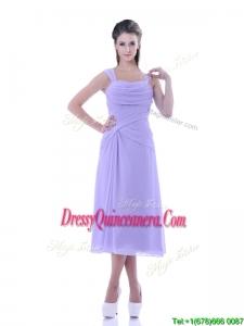 Fashionable Lavender Empire Square Dama Dress in Tea Length
