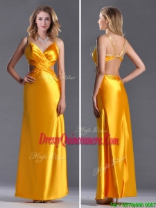 Luxurious Beaded Decorated Straps Criss Cross Dama Dress in Gold