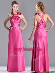 New Style Hand Crafted Flowers Hot Pink Dama Dress with Criss Cross