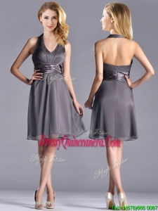 Romantic Chiffon Halter Top Knee Length Dama Dress in Grey