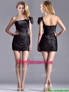 Sexy Column Ruched One Shoulder BlackDama Dress in Taffeta