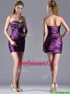 Discount Column Beaded Bust and RuchedDama Dress in Dark Purple