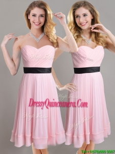 Discount Empire Pleated and Black Belted Dama Dress in Baby Pink