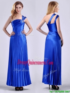 Discount Royal Blue Ankle Length Dama Dress with Beading and Pleats
