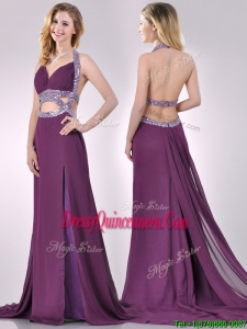 Gorgeous Cut Out Waist Halter Top Dama Dress with Brush Train