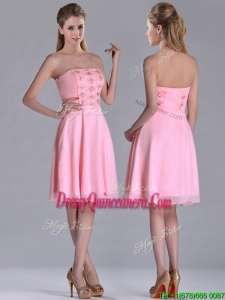 Latest Side Zipper Strapless Pink Short DamaDress with Beaded Bodice